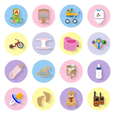 Baby and kids flat icons set graphic illustration Vector