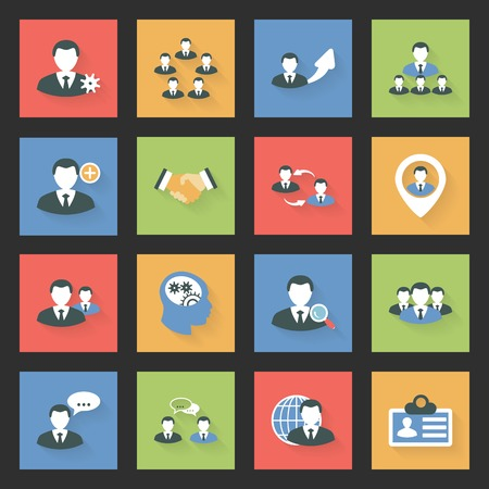 Interaction icons set flat design vector graphic illustration Vector