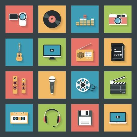 Multimedia icons set flat design vector graphic illustration Vector