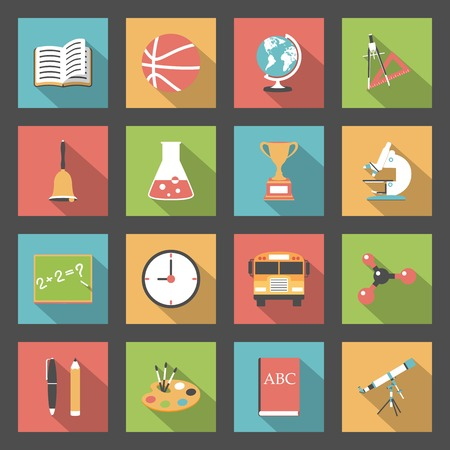 School flat icons set vector graphic illustration Vector