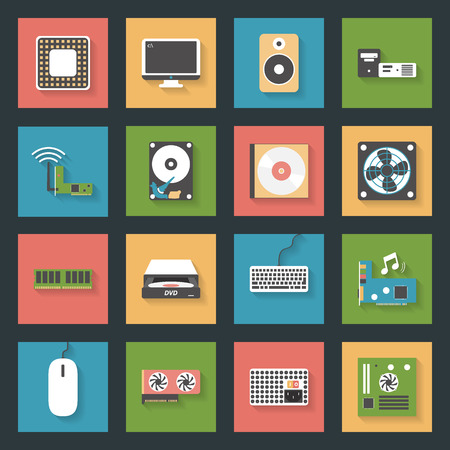 hard drive: Computer peripherals and parts flat icons set design vector graphic illustration Illustration