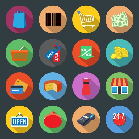 Market flat icons set vector graphic illustration Vector