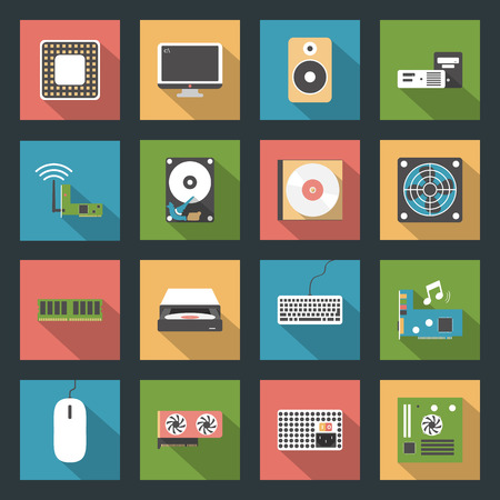 peripherals: Computer peripherals and parts flat icons set design vector graphic illustration Illustration