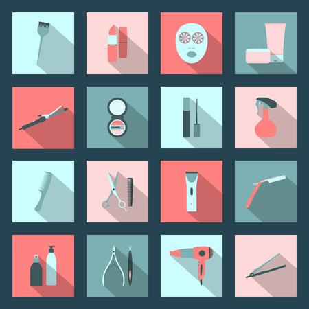 Beauty salon flat icons set vector graphic design Vector