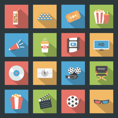 Cinema icons set flat design vector graphic illustration Vector