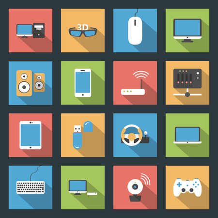 Computers, peripherals and network devices flat icons set design vector graphic illustration Vector