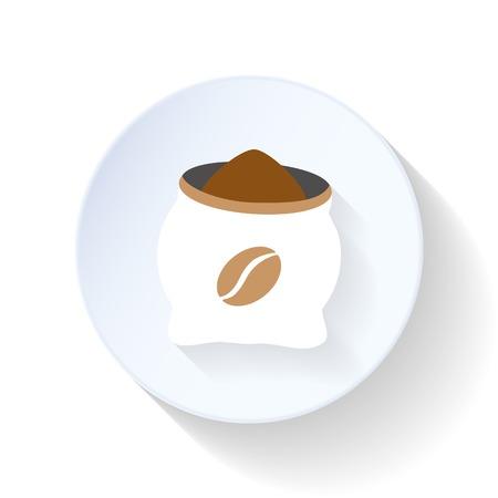 koffiebaal: Koffie tas platte design icoon vector grafische illustratie