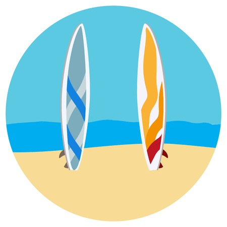 Surfing tables flat illustration graphic design