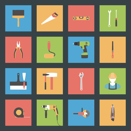 Building flat icons set vector graphic illustration Vector