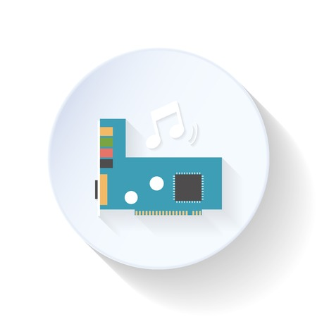 sound card: Sound card flat icon design vector graphic illustration Illustration