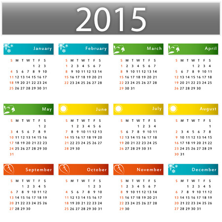 yearly: Calendario de vector 2015 a�o ilustraci�n gr�fica Vectores
