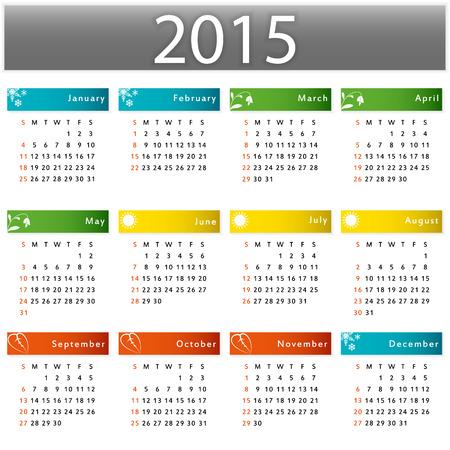Kalender voor 2015 jaar vector grafische illustratie