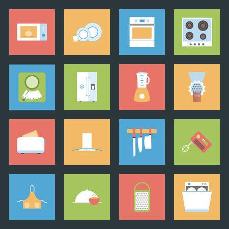 Kitchen flat icons set graphic illustration design Vector