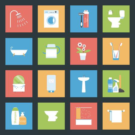 Bathroom flat icons set vector graphic illustration Vector