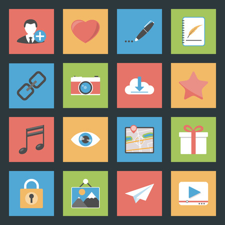 Socia media web flat icons set graphic illustration Vector
