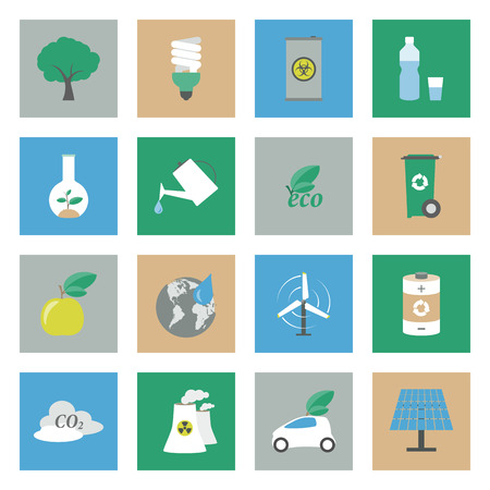 Ecology flat icons set graphic illustration design Vector