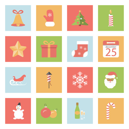 Christmas and New Year flat icons set graphic illustration design Vector