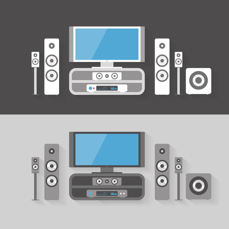 home cinema: Flat home cinema entertainment graphic illustration set