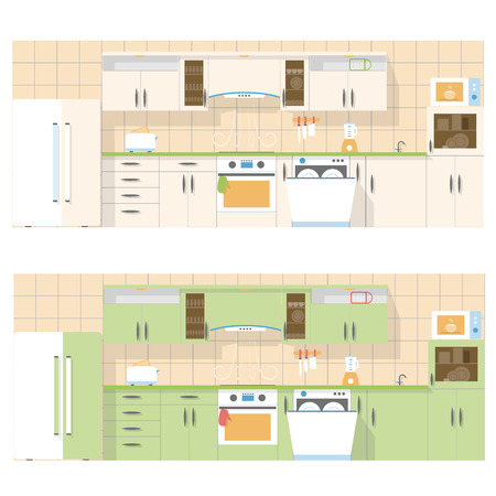 kitchen overlooking the front Vector