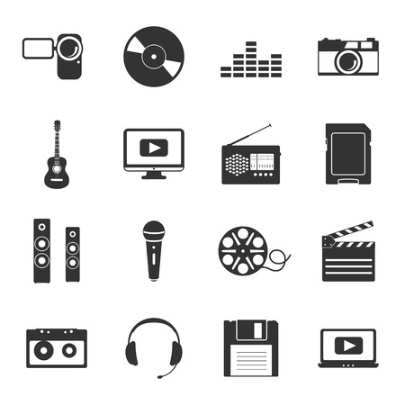Multimedia icons set flat design graphic illustration Vector