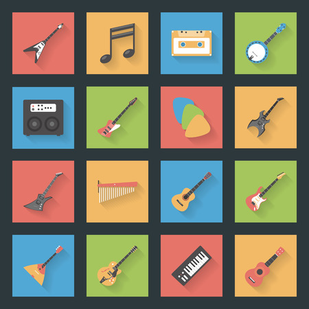 Musical Instruments flat icons set vector graphic illustration Vector