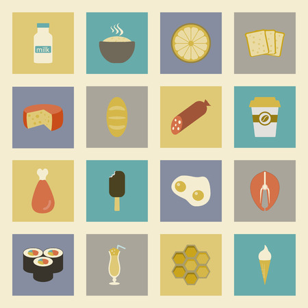 fast food colorful flat design icons set. template elements for web and mobile applications Vector