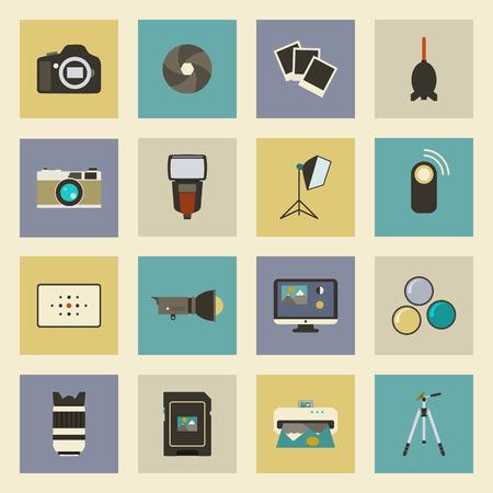 Photo equipment flat icons set vector graphic illustration design Vector