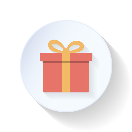 red gift box: Red gift box flat icon vector graphic illustration design