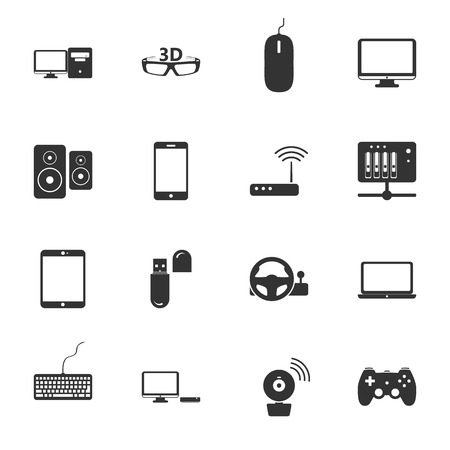 peripherals: Computers, peripherals and network devices flat icons set design vector graphic illustration