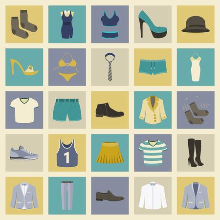 Kleding en schoenen vlakke pictogrammen set vector grafisch ontwerp