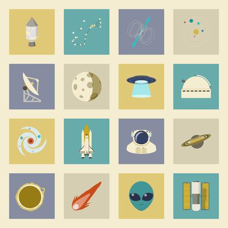 astronautics: Astronautics and Space flat icons set graphic illustration design