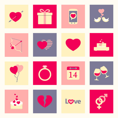 Valentines day and love flat icons set vector graphic illustration Vector