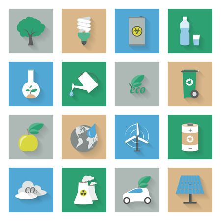 Ecology flat icons set vector graphic illustration design Vector