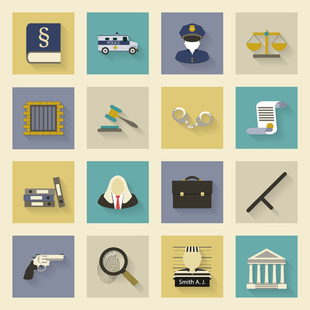 Law and justice flat icons set vector graphic illustration design Illustration