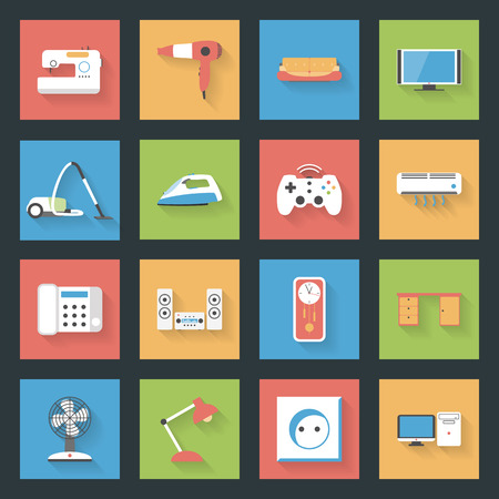 speakers desk: Home Furniture and Appliances flat icons set with shadows vector graphic illustration design