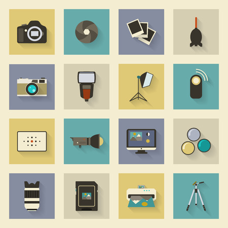 Photo equipment flat icons set with shadows vector graphic illustration design Vector