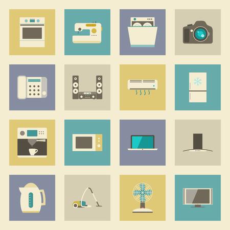 electrical appliances: Electrical appliances flat icons set vector graphic illustration