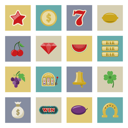 Slot machine and gambling flat icon set vector graphic illustration Vector
