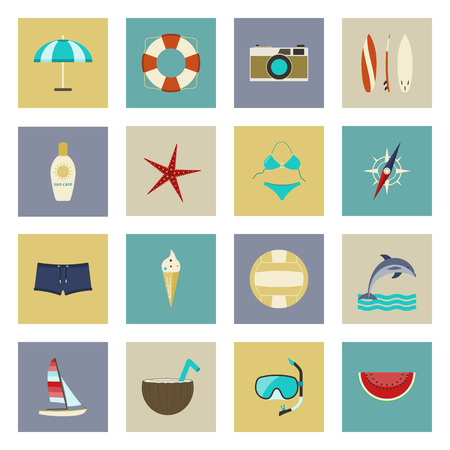 Beach vacation and travel flat icons set vector graphic illustration Vector