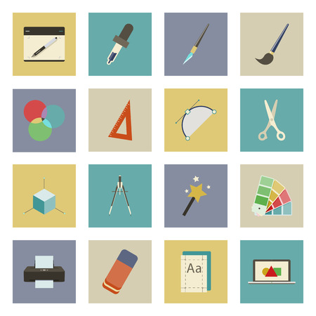Graphic and design flat icons set vector graphic illustration Vector