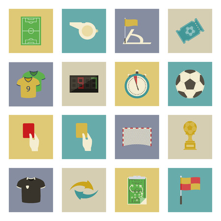Soccer flat icons set vector graphic illustration design Vector