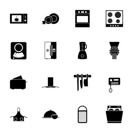 mincer: Kitchen silhouettes icons set vector graphic illustration design