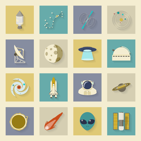 pulsar: Astronautics and Space flat icons set with shadows vector graphic illustration design