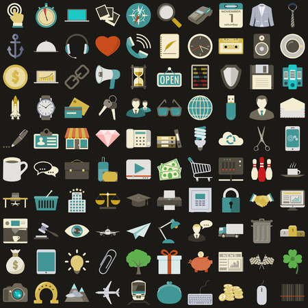 Universal 100 flat icons set vector graphic illustration design Vector