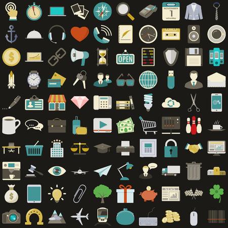 Universal 100 vlakke pictogrammen instellen vector grafische illustratie ontwerp