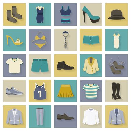 Kleding en schoenen vlakke pictogrammen set met schaduwen grafisch ontwerp