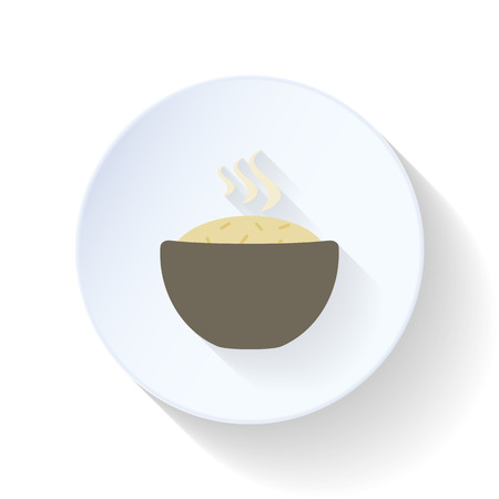 rice plate: Plate of rice flat icon vector graphic illustration