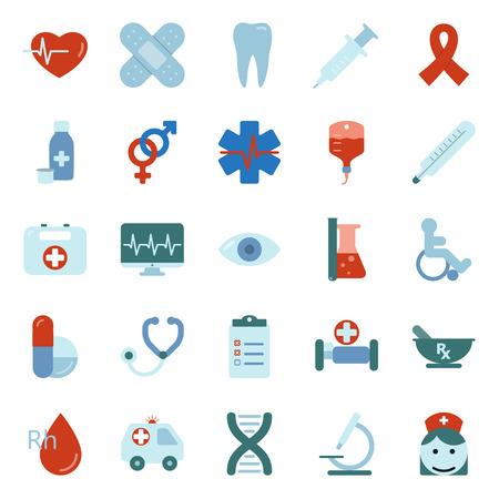 Medical flat icons set graphic illustration design Stock Illustratie