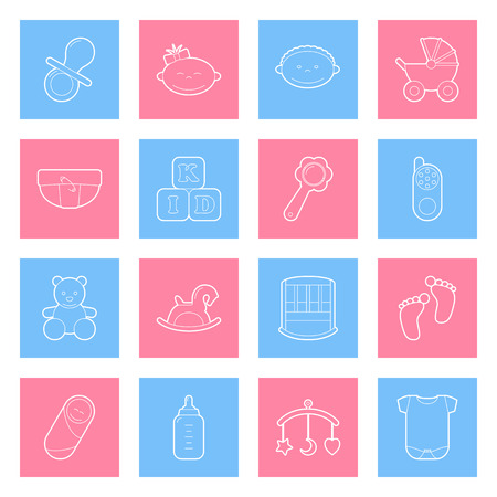 nappies: Baby lines icons set graphic illustration design Illustration