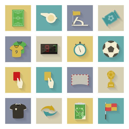 Soccer flat icons set vector graphic illustration design